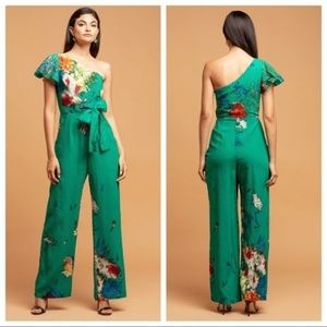 Eva Franco One Shoulder Floral Garden Jumpsuit Ant
